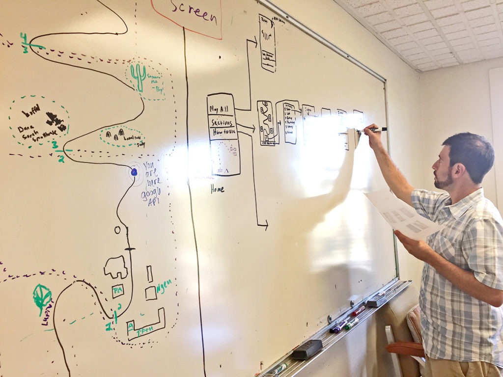 Tumamoc director, Ben Wilder sketches his version of Paul's screen flows on our whiteboard