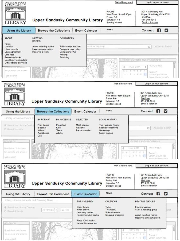 mega-menu drop-downs for library home page main navigation