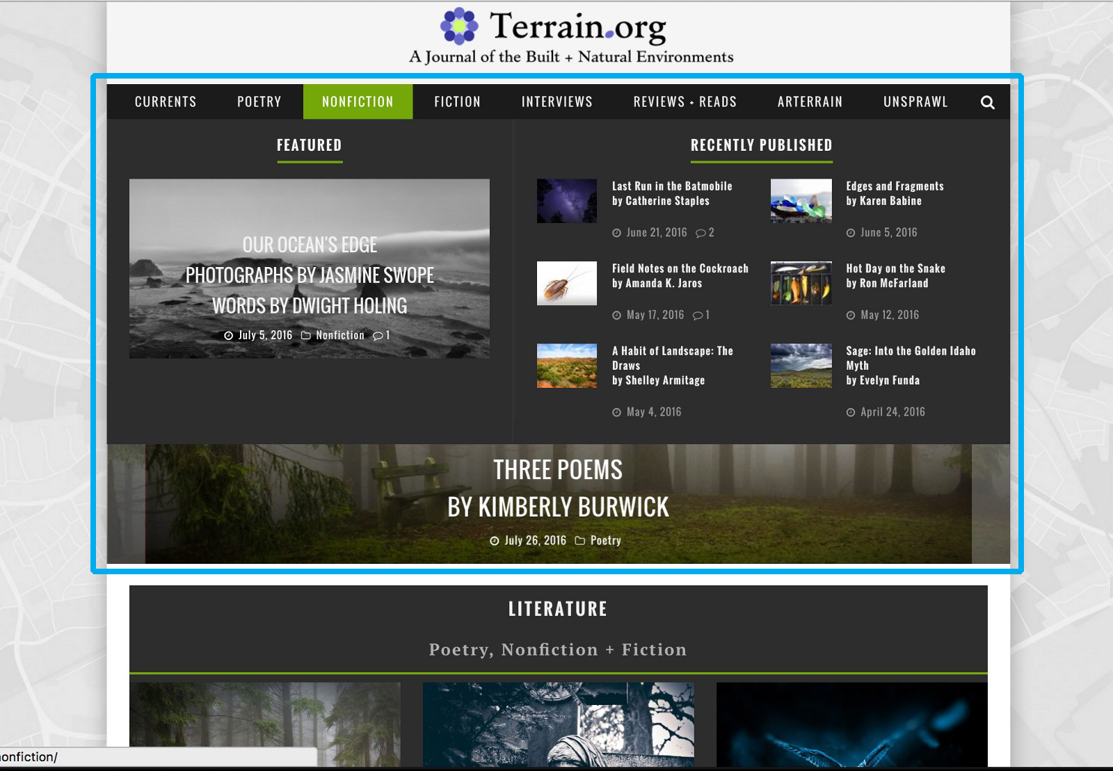 a drop-down secondary menu appears, (blue outline is mine) showing a curated view of articles in that category.