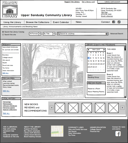 Wire frame for public library site home page