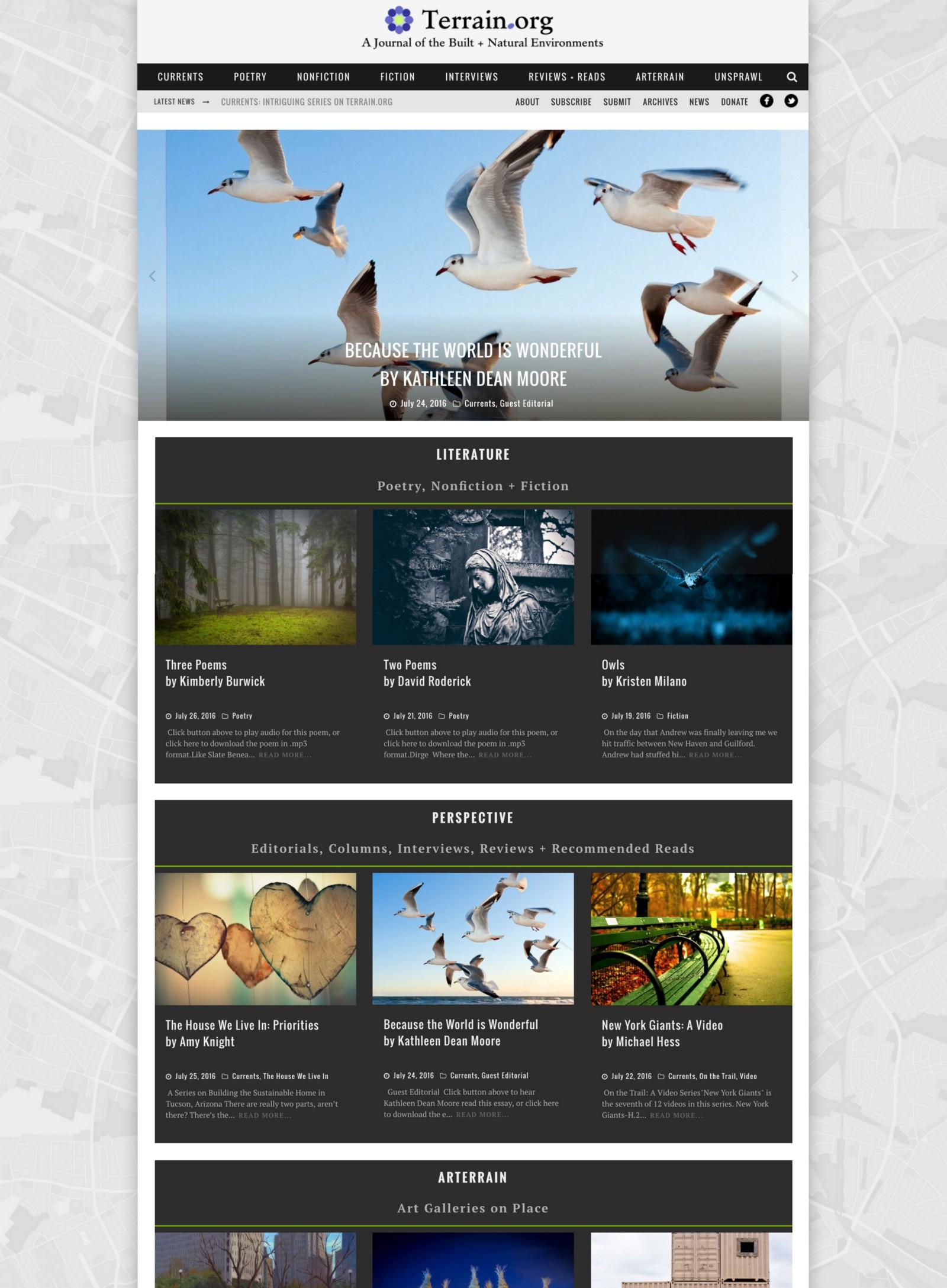 Terrain.org, home screens