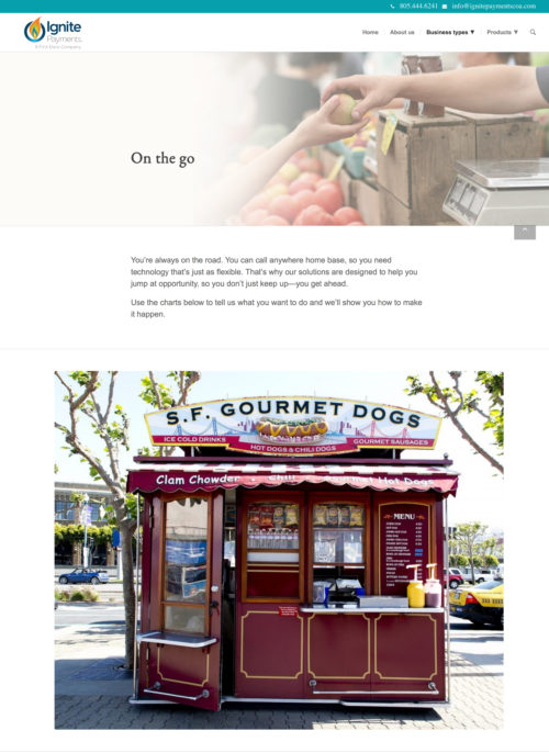 on the go - merchant payments sample page web design