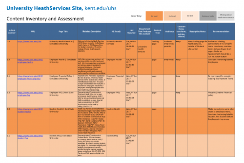 University Health Services Site - content inventory spreadsheet